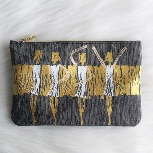 NWOT Ipsy Cosmetics Bag Silver and Gold Print